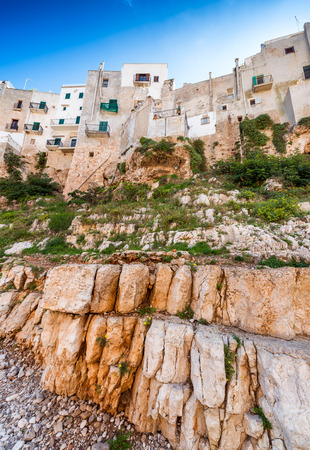 mare: Colourful homes of Polignano a Mare, Apulia - Italy.