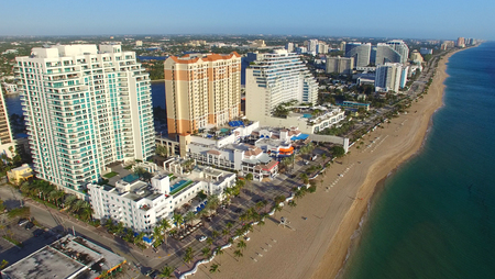 preferred: FORT LAUDERDALE - FEBRUARY 25, 2016: City aerial skyline on a sunny morning. Fort Lauderdale is a preferred tourist destination. Editorial