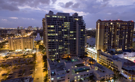 intercoastal: Aerial view of Fort Lauderdale at sunset.