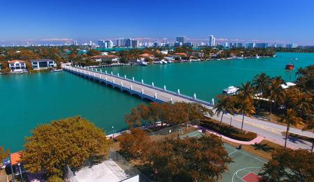 miami florida: Panoramic aerial view of Palm Island, Miami - Florida. Stock Photo