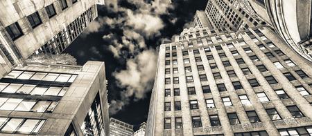 upward: Upward view of Boston skyscrapers at night. Stock Photo