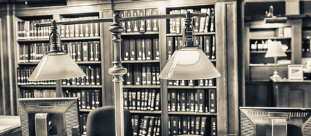 books library: Classic old reading room. Stock Photo