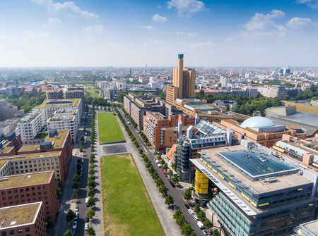 platz: Aerial view of Potsdamer Platz area and gardens in Berlin, Germany.