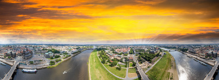 altstadt: Panoramic 360 degrees aerial view of Dresden. Altstadt and Neustadt. Stock Photo