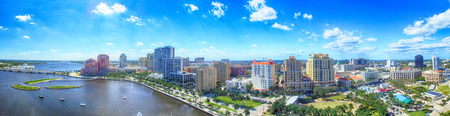 Aerial panoramic view of West Palm Beach, Florida. Sunset skyline. Stock Photo