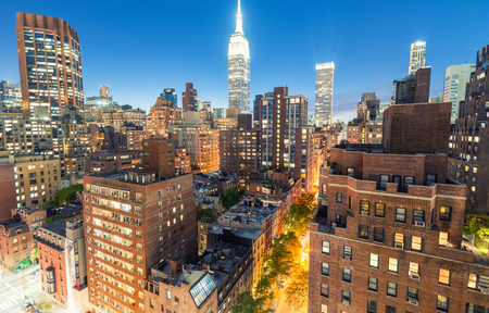 Midtown lights on a beautiful evening, New York from rooftop. Stock Photo