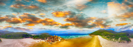 wilsons promontory: Squeaky Beach, Wilsons Promontory. Aerial panoramic sunset view. Stock Photo