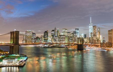 magnificence: Magnificence of New York Skyline at twilight from Manhattan Bridge, USA.