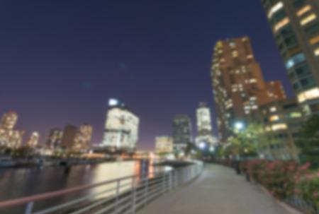 hudson: Defocused night view of New York City and Hudson river.