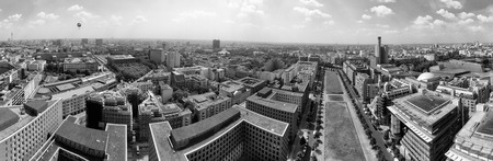 annually: BERLIN - JULY 2016: Aerial view of Potsdamer Platz area. Berlin attracts 30 million visitors annually.