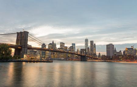 magnificence: Magnificence of Brooklyn Bridge from Brooklyn Bridge Park at twilight. Stock Photo