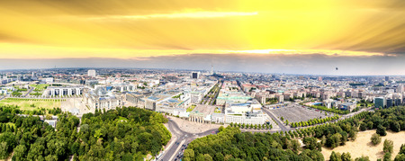 holocaust: Berlin, Germany Aerial view of Reichstag, Brandenburg Gate and Holocaust Memorial at dusk. Stock Photo