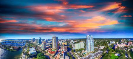 Sunset over Saint Petersburg, Florida - USA. Aerial view. Stock Photo