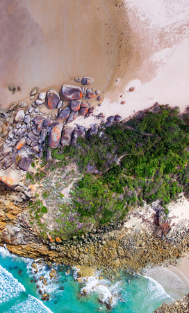 wilsons promontory: Overhead panoramic view of Squeaky Beach, Wilsons Promontory, Australia. Stock Photo