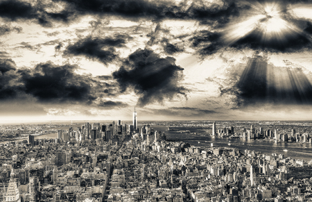 Aerial view of Manhattan skyline. Stock Photo