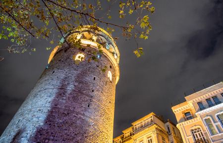 Galata Tower at night, Istanbul. Stock Photo