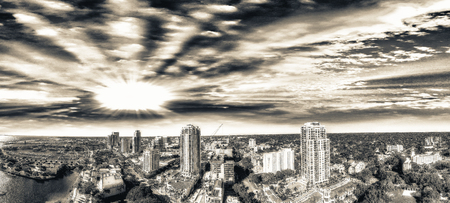 pinellas: St Petersburg aerial view at sunset, Florida.