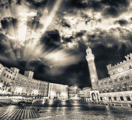 campo: Piazza del Campo at sunset, Siena, Tuscany - Italy. Stock Photo