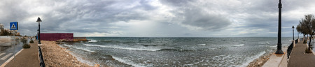 seafronts: Panoramic view of Bari coastline on a rainy day, Italy.