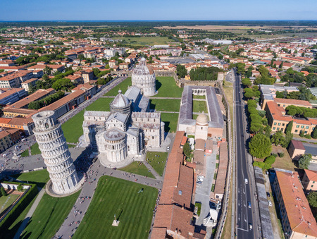 magnificence: Magnificence of Miracles Square from helicopter, aerial view of Pisa skyline, Tuscany, Italy. Stock Photo