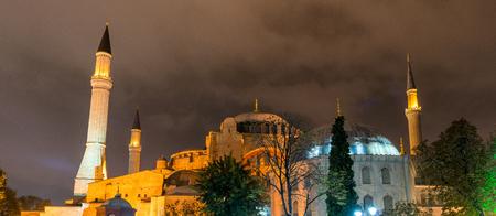 Hagia Sophia at night. Stock Photo