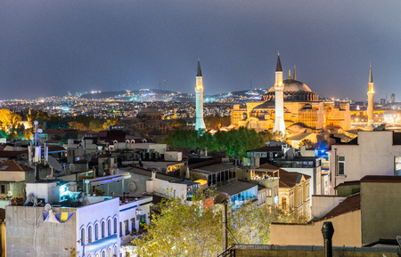 magnificence: Magnificence of Hagia Sophia Museum at night, aerial view of Istanbul, Turkey.