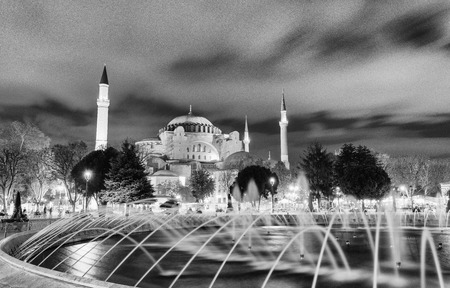magnificence: Magnificence of Hagia Sophia Museum in Sultanahmet Square at night, Istanbul, Turkey. Editorial