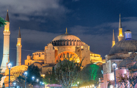 magnificence: Magnificence of Hagia Sophia Museum at night, Istanbul, Turkey. Editorial