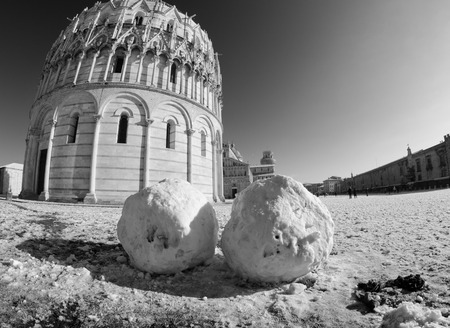 Piazza dei Miracoli in Pisa after a Snowstorm, Italy