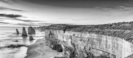 twelve: Aerial view of Twelve Apostles at dawn, Victoria - Australia. Stock Photo