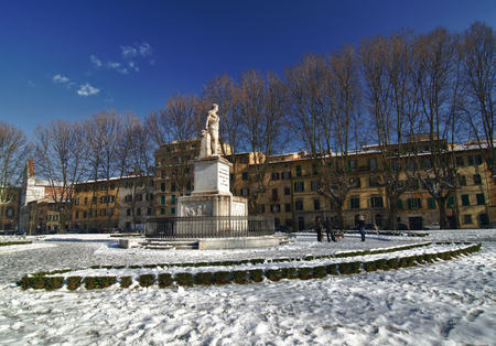Piazza Santa Caterina in Pisa after a Snowfall, Italy