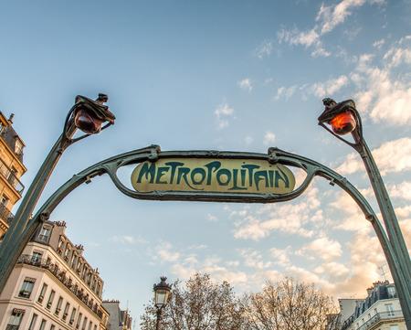 france station: Paris Metro Sign. Editorial