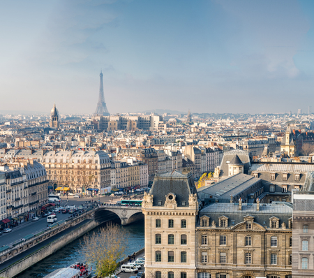 panoramic sky: Paris, aerial city skyline. Stock Photo
