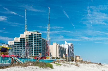 city and county building: DAYTONA BEACH, FL - FEBRUARY 17, 2016: City beach and amusement park. Daytona Beach is a famous tourist attraction in Florida. Editorial