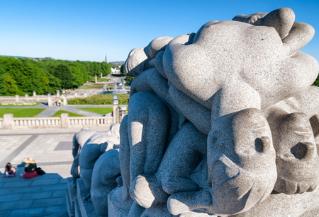 granite park: OSLO, NORWAY - JUNE 2009: Statues in Vigeland park in Oslo, Norway on June 2009. The park covers 80 acres and features 212 bronze and granite sculptures created by Gustav Vigeland. Editorial