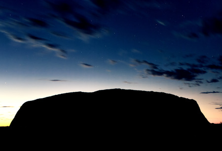 australian outback: Silhouette of Australian Outback Mountains at sunrise.