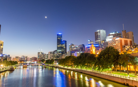 MELBOURNE - OCTOBER 2015: Beautiful city skyline at night. melbourne attracts 10 million tourists annually.
