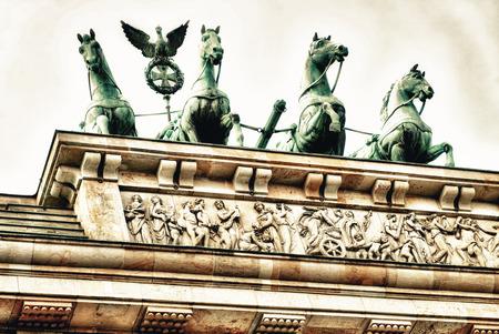 quadriga: Brandenburg Gate Quadriga in Berlin, Germany.