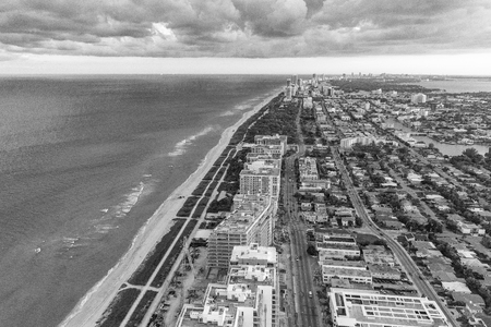 intercoastal: Miami Beach from the air, black and white aerial view.