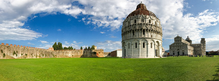 miracle square: Panoramic view of Miracles Square in Pisa on a sunny day, Tuscany - Italy.