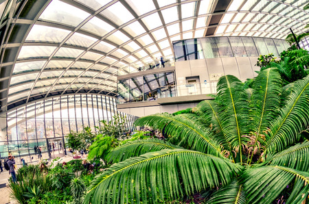 garden features: LONDON - SEPTEMBER 26, 2016: The Sky Garden at 20 Fenchurch Street is a unique public space designed by Rafael Vinoly Architects. It features a stylish restaurant; brasserie and cocktail bar. Editorial