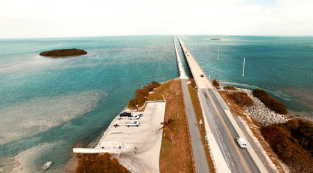 Turquoise waters and bridge on the Overseas Highway, aerial view of Florida Keys. Stock Photo