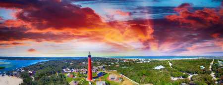 Florida Lighthouse, Ponce de Leon aerial view. Stock Photo