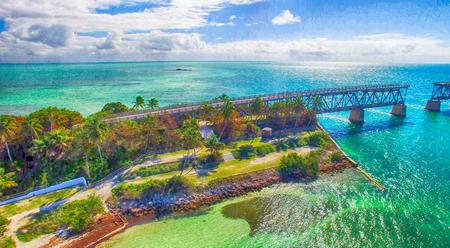 Bahia Honda State Park, aerial panoramic view - Florida - USA.