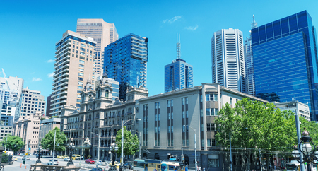 Melbourne city skyline on a beautiful day. Victoria - Australia.