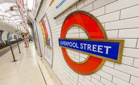 11th: LONDON - JUNE 2015: Liverpool Street station sign on June, 2015 in London, UK. London Underground is the 11th busiest metro system worldwide with more than 1 billion annual rides.