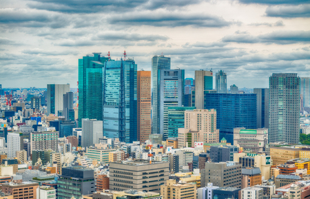 annually: TOKYO - MAY 2016: Aerial view of city skyline. Tokyo attracts 15 million visitors annually. Editorial