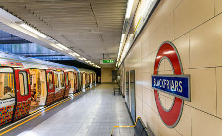 LONDON - JUNE 2015: Blackfriar station sign on June, 2015 in London, UK. London Underground is the 11th busiest metro system worldwide with more than 1 billion annual rides.