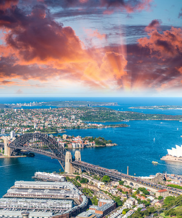 nsw: Sydney Harbour, NSW, Australia at dusk.