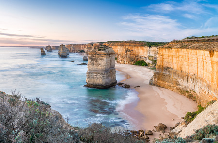 Twelve Apostles at sunrise, amazing natural landscape of Great Ocean Road, Australia.